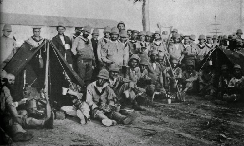 Acampamento de soldados portugueses no Lubango, Sul de Angola em 1915